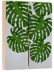 artboxONEHolzbild 30x20 cm Illustration Natur Stillleben Monstera Palm grün Holzbild - Wandbild aus Holz Illustration Natur Stillleben Kunstdruck - Holzschild von Paper Pixel Print