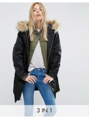 Asos3 in 1 Parka with Rib Collar - Black