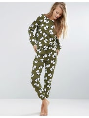Asos100% Cotton All Over Eyes Long Sleeve Tee & Jogger Pyjama Set