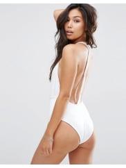 AsosTwist Back Tie Wrap Front Swimsuit - White