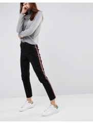 AsosCigarette Trousers with Side Stripe - Black