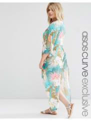 Asos CurveSplit Side Maxi Beach Kimono in Tropical Floral Print
