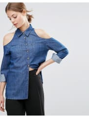 AsosChemise en jean à épaules dénudées - Bleu foncé délavé - Bleu