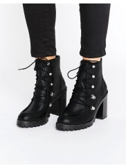 AsosEISHA Leather Hiker Boots - Black leather
