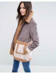 AsosFaux Shearling Coat in Patchwork - Multi
