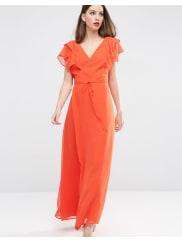 AsosFrill Wrap Maxi Dress - Orange