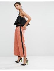 AsosJacquard Wide Leg Trousers with Side Stripe - Multi