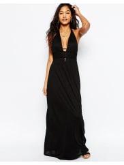 AsosJersey Ruched Halter Maxi Beach Dress