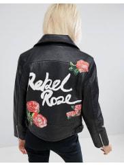 AsosPerfecto en cuir avec imprimé Rebel Rose au dos - Noir - Noir