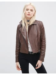 AsosLeather Biker Jacket with Zip Detail - Brown