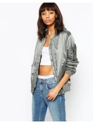 AsosLuxe Bomber Jacket In Satin - Silver grey