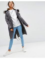 AsosPremium Padded Parka with Fur Lined Hood