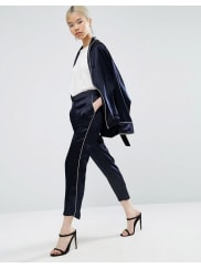 AsosLuxe Pyjama Trouser with Piping Detail - Navy