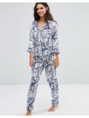 AsosMarble Print Satin Pyjama Set With Piping - Multi