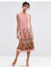 AsosMidi Dress with Pleated Skirt and Border Print - Print