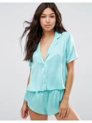 AsosMiley Satin Piped Pyjama Top & Short Set - Mint