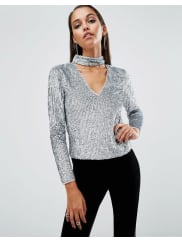 AsosNIGHT Top with High Neck in Sequin Embellishment - Silver