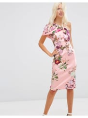 AsosOne Shoulder Fold Midi Scuba Dress in Floral Print - Print