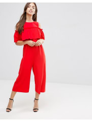 AsosJumpsuit with Ruffle Cold Shoulder Detail - Red