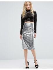 AsosPencil Skirt in Metallic Snake Print - Silver metallic