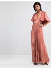 AsosPleated Ruffle Cape Tiered Maxi Dress - Mink