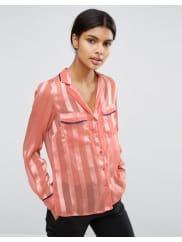 AsosPyjama Blouse in Sheer Stripe - Coral