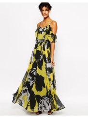 AsosRuffle Cami Maxi Dress In Yellow And Black Floral - Multi