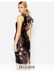 Hope & IvyPencil Dress in Sateen Floral Print with Frill Back Detail - Black sateen multi