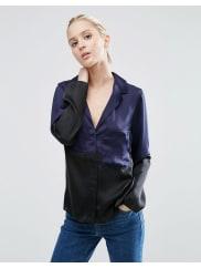 AsosSatin Pyjama Blouse in Colour Block - Navy/black