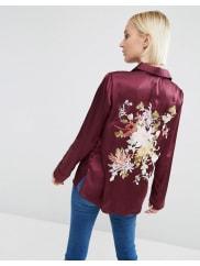 AsosSatin Pyjama Blouse With Floral Embroidered Back - Oxblood