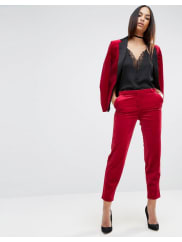 AsosSexy Velvet Slim Leg Trouser - Red