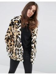 AsosManteau trapèze en fausse fourrure imprimé léopard - Multi
