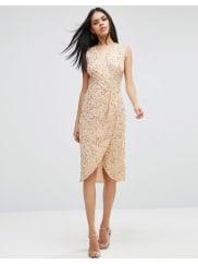AsosTwist Front Mesh Sequin Midi Dress - Rose gold