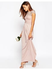 AsosWEDDING Lace Top Pleated Maxi Dress - Blush
