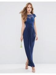 AsosWEDDING Lace Top Pleated Maxi Dress