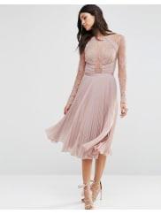 AsosWEDDING Pretty Lace Eyelash Pleated Midi Dress - Mink