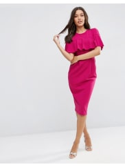 AsosWiggle Dress with Frill Sleeve Detail - Plum