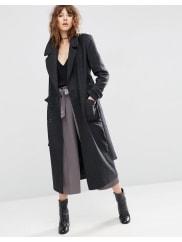 AsosCappotto midi in misto lana con cintura - Grigio