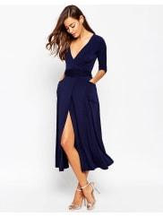 AsosCrepe Wrap Midi Dress - Navy