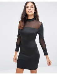 AX PARISLong Sleeve Bodycon Midi Dress With Mesh Inserts