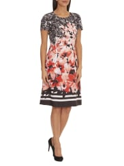 Betty BarclayAbstract Floral Print Short Sleeve Dress, Multi-Coloured