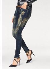 Blue Monkey5-Pocket-Jeans »Penny« mit glänzenden Spray-Effekten und Nieten, blau, Länge 34, mittelblau-goldfarben