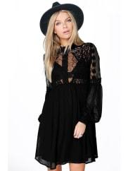 BoohooLola Lace High Neck Babydoll Dress - black