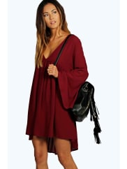 BoohooV Neck Woven Baby Doll Smock Dress - wine