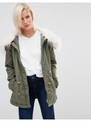 Brave SoulDrawstring Parka With Faux Fur Collar - Khaki