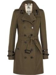 BurberryQueensborough Mid-length Cotton-gabardine Trench Coat - Dark green