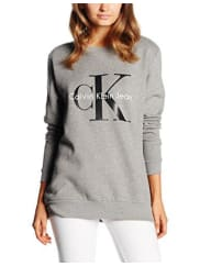 Calvin Klein JeansDamen Sweatshirt Crew Neck Hwk True Icon, Grau (Light Grey Heather 038), Large