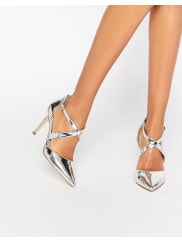CarvelaKross Cross Strap Heeled Shoes - Silver synthetic