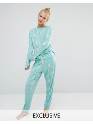 Chelsea PeersGarden Flora Long Pyjama Set - Green