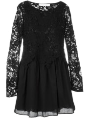 See By Chloéguipure lace layered dress, Womens, Size: 42, Black